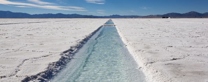 44685852 - panorama of a the salinas grande against a blue sky, a huge salt field in jujuy province, north of argentina.