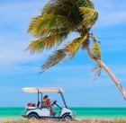 10544274 - family driving golf cart along the tropical beach