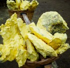 raw yellow sulfur in the basket