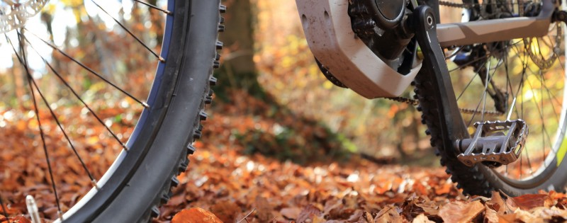 A Closeup of E-Mountain Bike with motor and gearbox