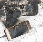 the burned-down power supply, phone, view on the top possible cause of the fire