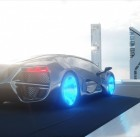 black futuristic electric car very fast driving in sci fi sity, town. Concept of future. 3d rendering